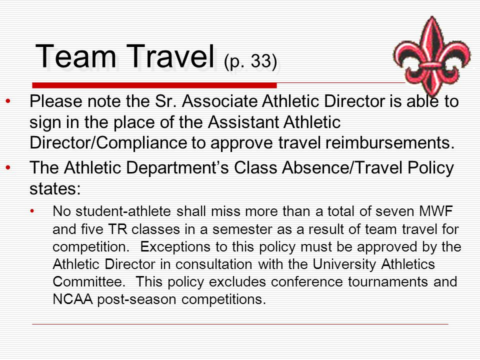 Team Travel (p.33) Please note the Sr.