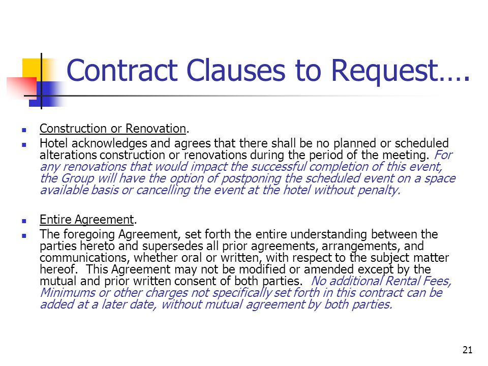 21 Contract Clauses to Request….Construction or Renovation.