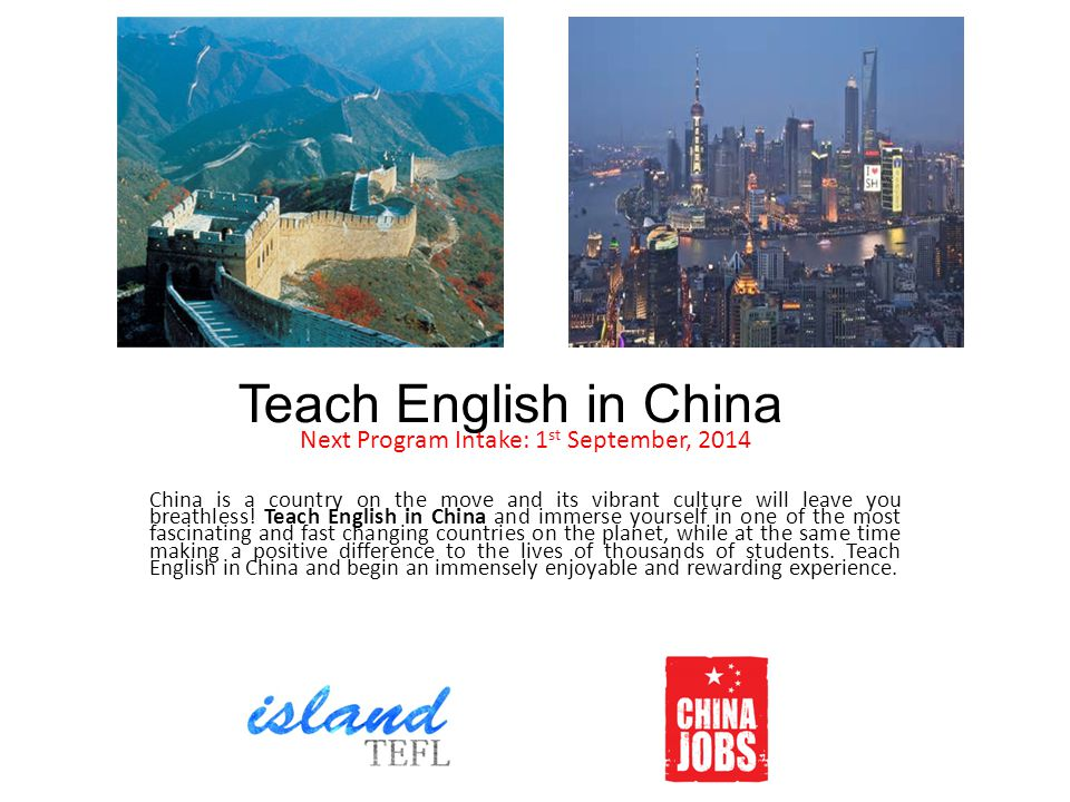 Requirements and Application Process Programme Requirements: Native English Speaker and passport holder from U.S.A, Canada, U.K, Australia, New Zealand, Ireland or South Africa Bachelors degree or higher (Teaching degrees and experience preferred) 120 hours, Internationally accredited, TEFL or TESOL or CELTA Application Procedure: Please send your resume or c.v., recent photo and your date of birth to Philip@islandtefl.com.Philip@islandtefl.com Alternatively, please visit www.islandtefl.com and apply.