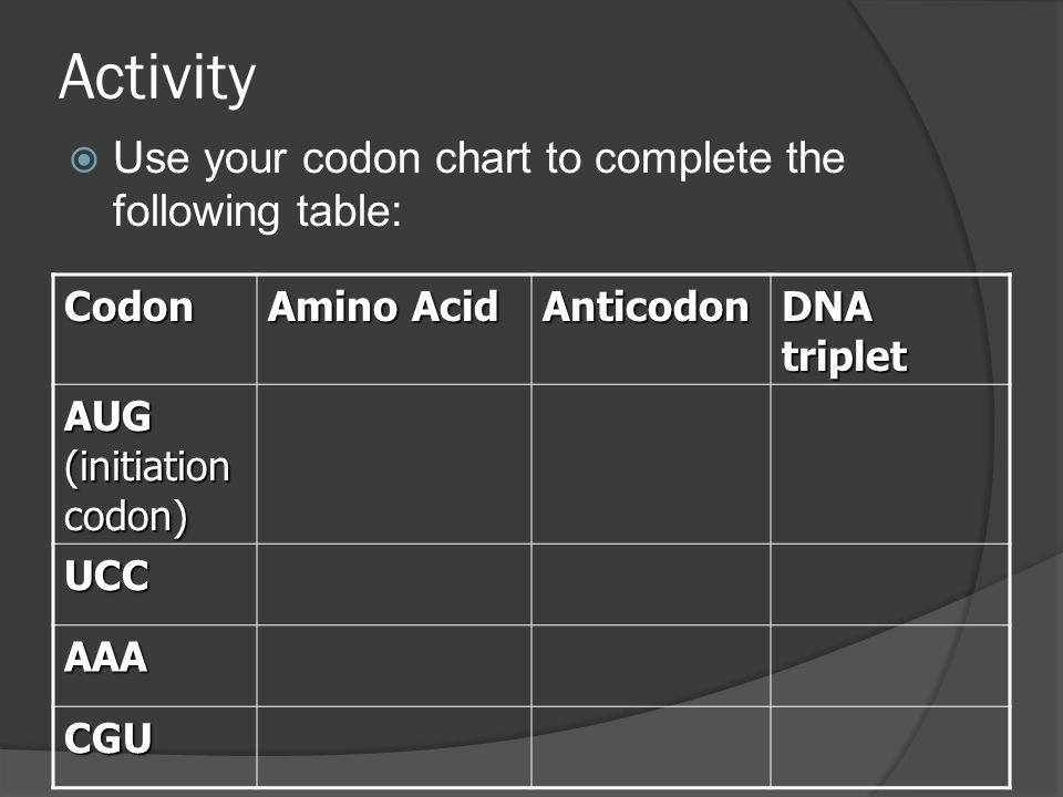 Activity  Use your codon chart to complete the following table: Codon Amino Acid Anticodon DNA triplet AUG (initiation codon) UCC AAA CGU