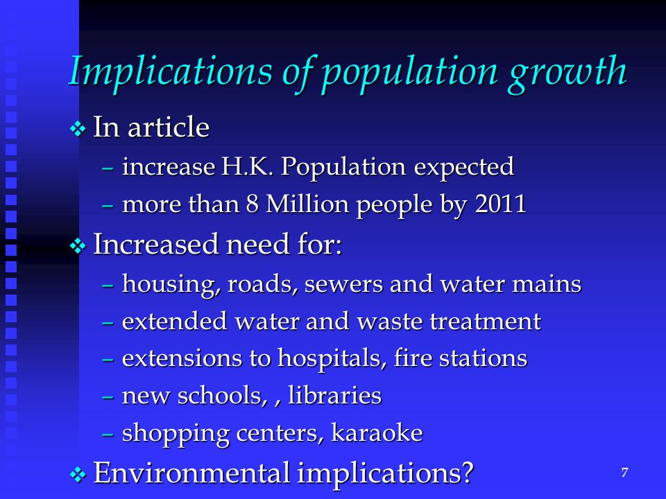 Implications of population growth v In article –increase H.K.
