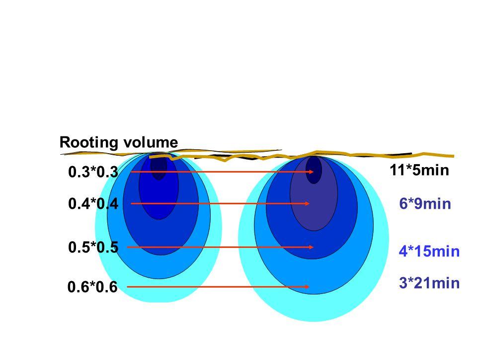 Soil moisture regimes Rooting volume 0.3*0.3 0.4*0.4 0.5*0.5 0.6*0.6 3*21min 4*15min 6*9min 11*5min