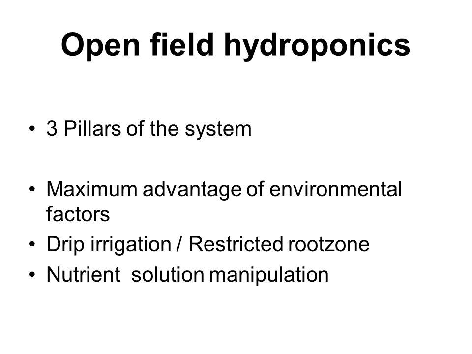Open field hydroponics 3 Pillars of the system Maximum advantage of environmental factors Drip irrigation / Restricted rootzone Nutrient solution manipulation