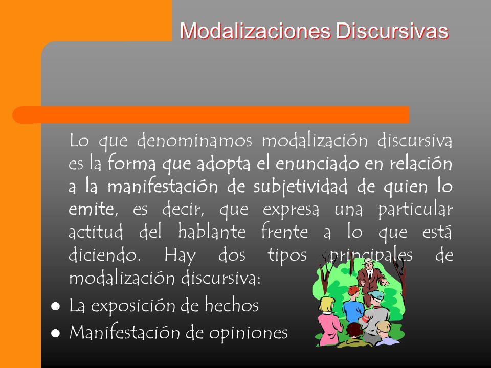 Modalizaciones Discursivas Lo que denominamos modalización discursiva es la forma que adopta el enunciado en relación a la manifestación de subjetividad de quien lo emite, es decir, que expresa una particular actitud del hablante frente a lo que está diciendo.