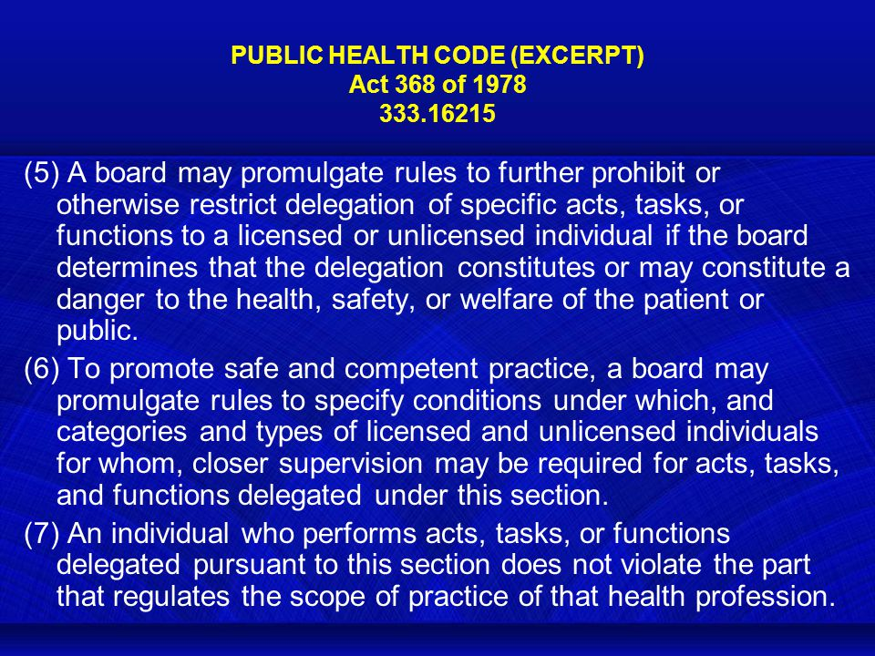 PUBLIC HEALTH CODE (EXCERPT) Act 368 of 1978 333.16215 (5) A board may promulgate rules to further prohibit or otherwise restrict delegation of specific acts, tasks, or functions to a licensed or unlicensed individual if the board determines that the delegation constitutes or may constitute a danger to the health, safety, or welfare of the patient or public.