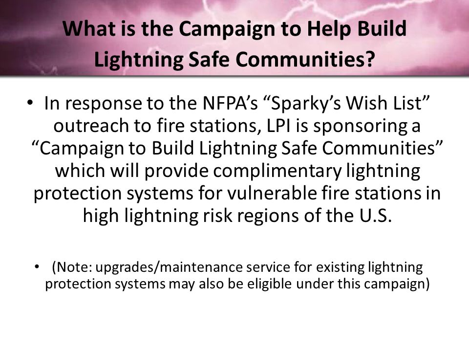 What is the Campaign to Help Build Lightning Safe Communities.
