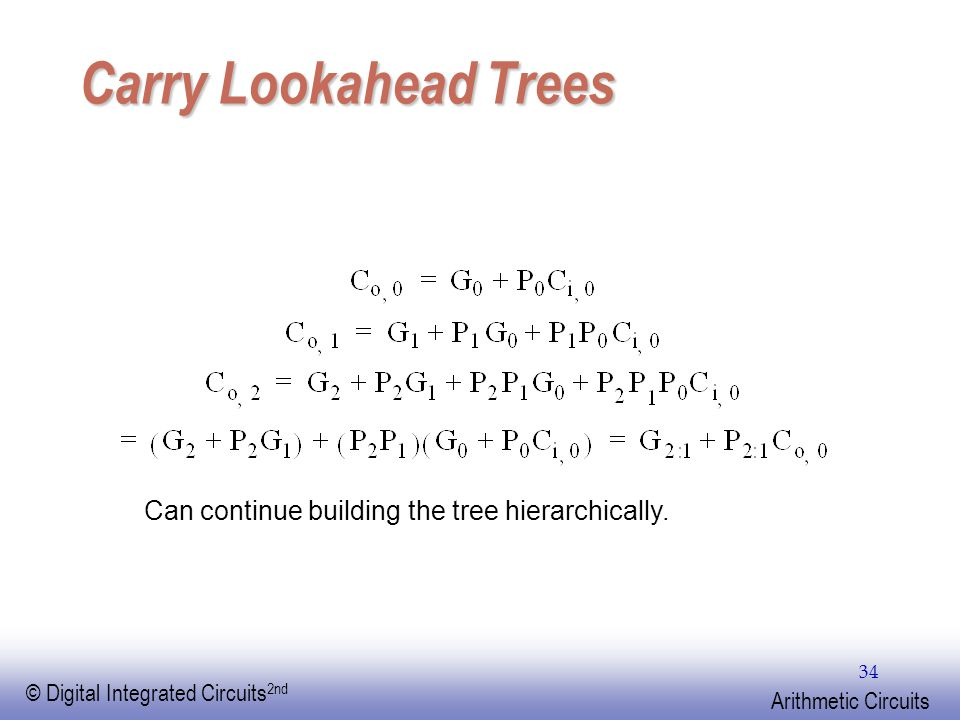 EE141 © Digital Integrated Circuits 2nd Arithmetic Circuits 34 Carry Lookahead Trees Can continue building the tree hierarchically.