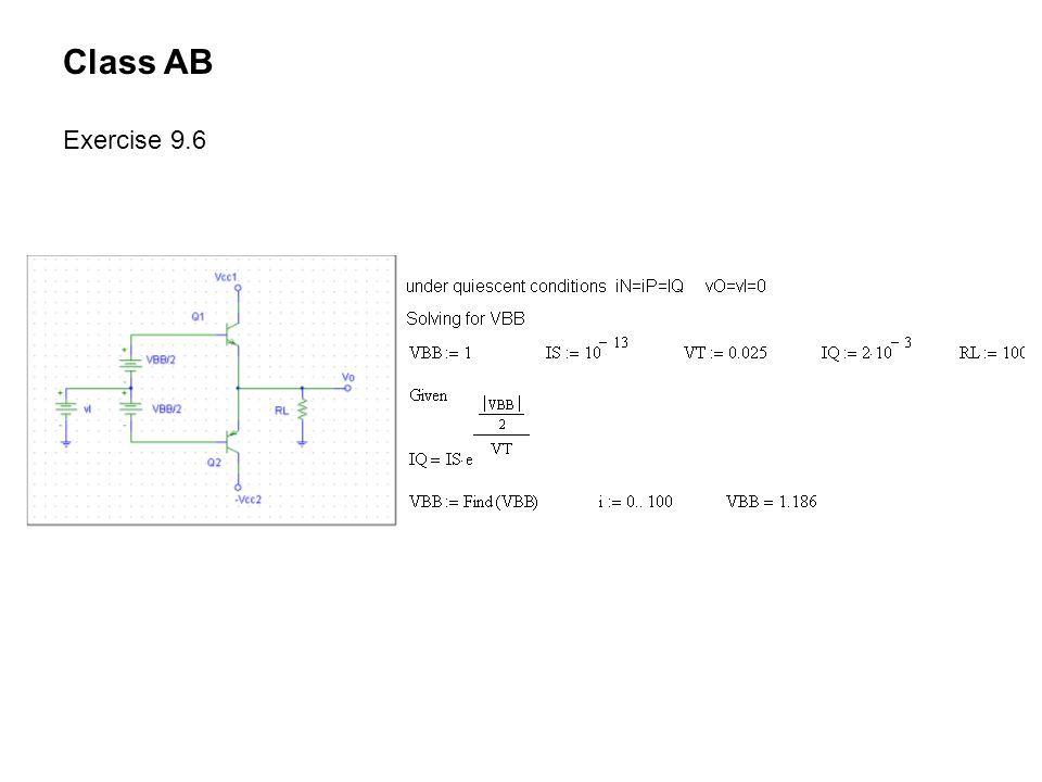Class AB Exercise 9.6