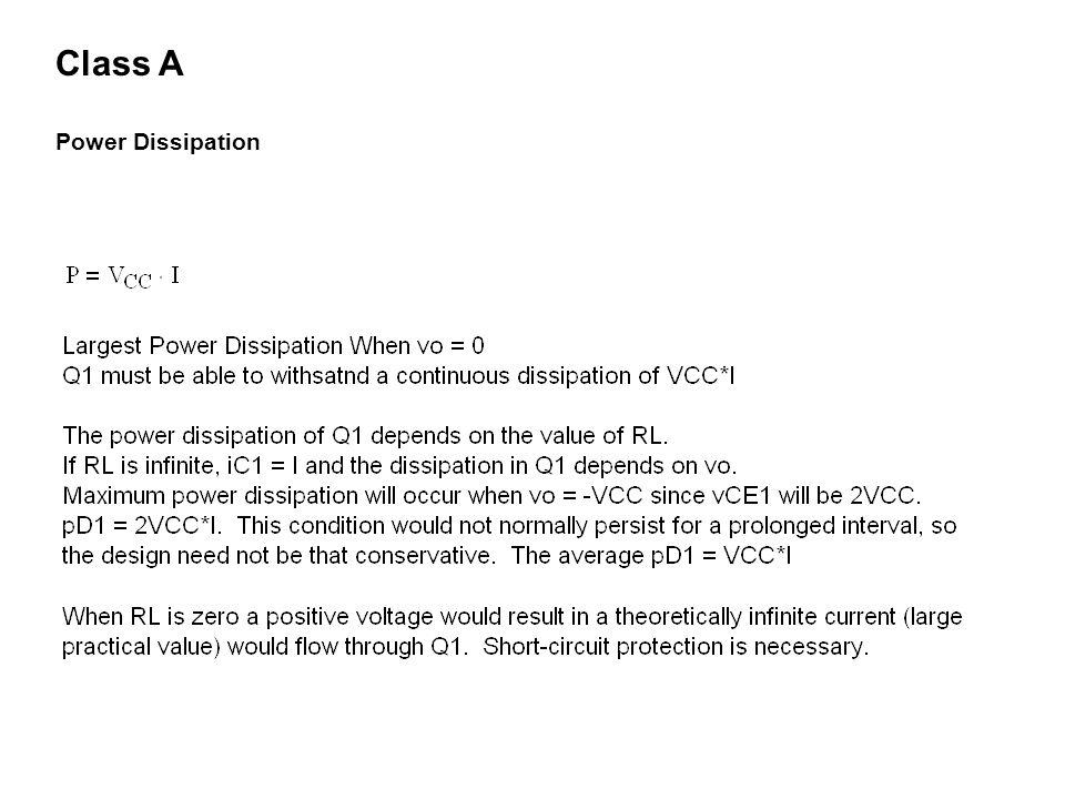 Class A Power Dissipation