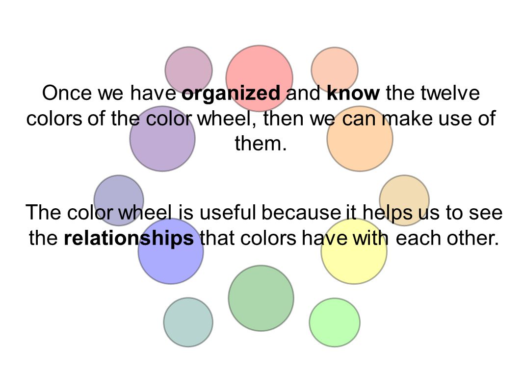 Once we have organized and know the twelve colors of the color wheel, then we can make use of them.