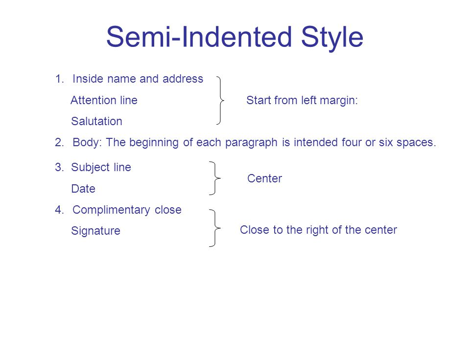 Semi-Indented Style 1.Inside name and address Attention line Start from left margin: Salutation 2.Body: The beginning of each paragraph is intended four or six spaces.