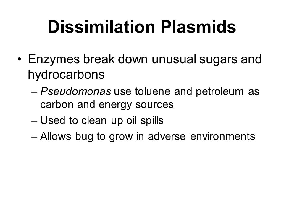 Dissimilation Plasmids Enzymes break down unusual sugars and hydrocarbons –Pseudomonas use toluene and petroleum as carbon and energy sources –Used to clean up oil spills –Allows bug to grow in adverse environments