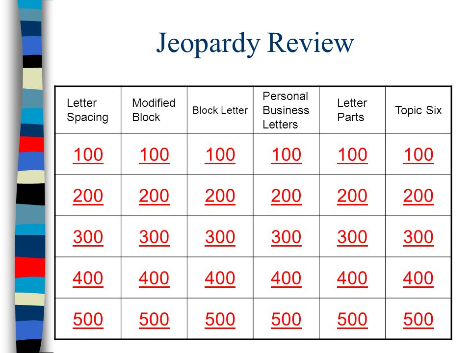 Jeopardy Review Letter Spacing Modified Block Block Letter Personal Business Letters Letter Parts Topic Six 100 200 300 400 500