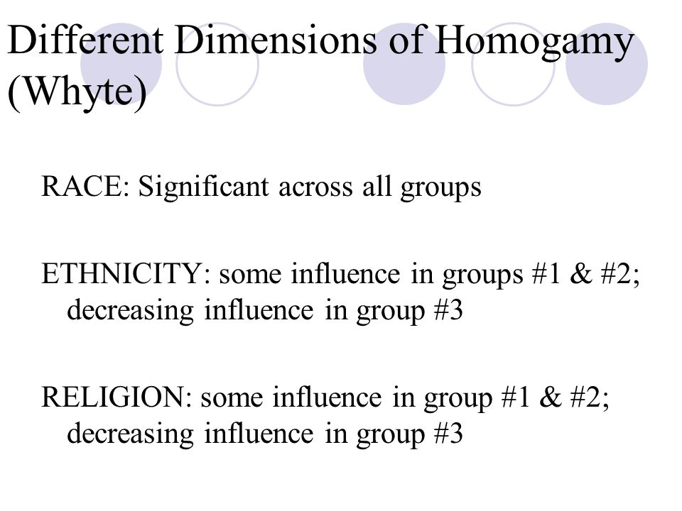 Different Dimensions of Homogamy (Whyte) RACE: Significant across all groups ETHNICITY: some influence in groups #1 & #2; decreasing influence in group #3 RELIGION: some influence in group #1 & #2; decreasing influence in group #3
