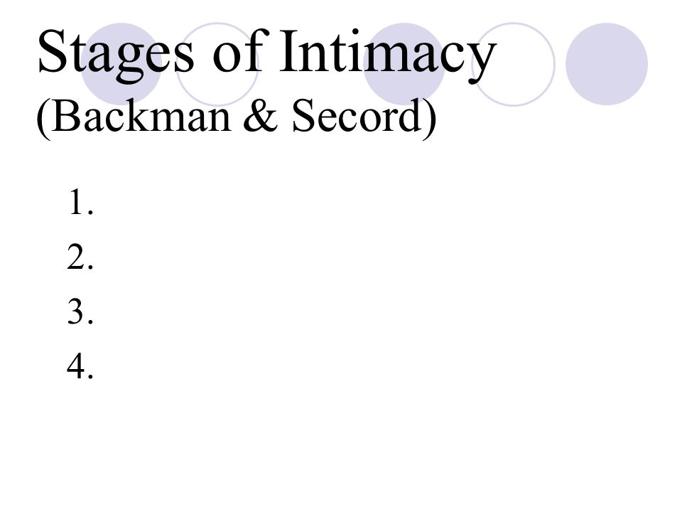 Stages of Intimacy (Backman & Secord) 1. 2. 3. 4.