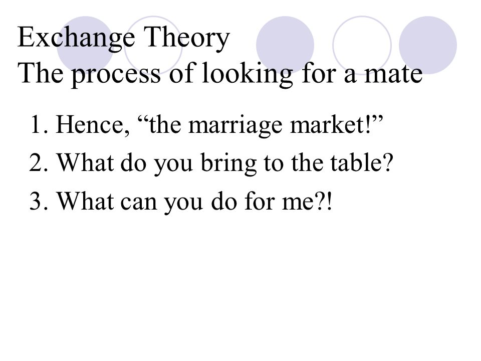 Exchange Theory The process of looking for a mate 1.