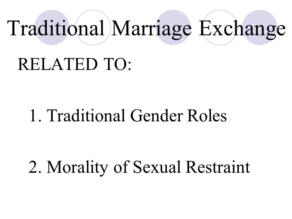 Traditional Marriage Exchange RELATED TO: 1.Traditional Gender Roles 2.