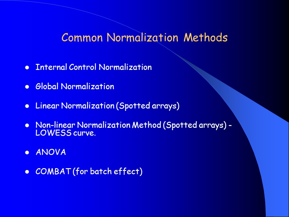 Common Normalization Methods Internal Control Normalization Global Normalization Linear Normalization (Spotted arrays) Non-linear Normalization Method