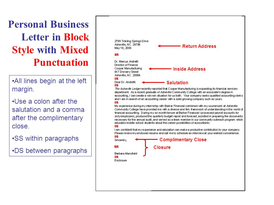 Business Letter in Modified Block Style with Open Punctuation Inside Address Salutation Closure Complimentary Close Type the date and closure at centerpoint — 6 tabs over.