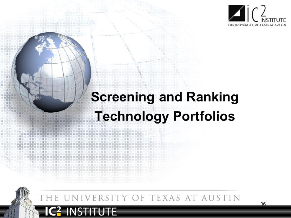 36 Screening and Ranking Technology Portfolios
