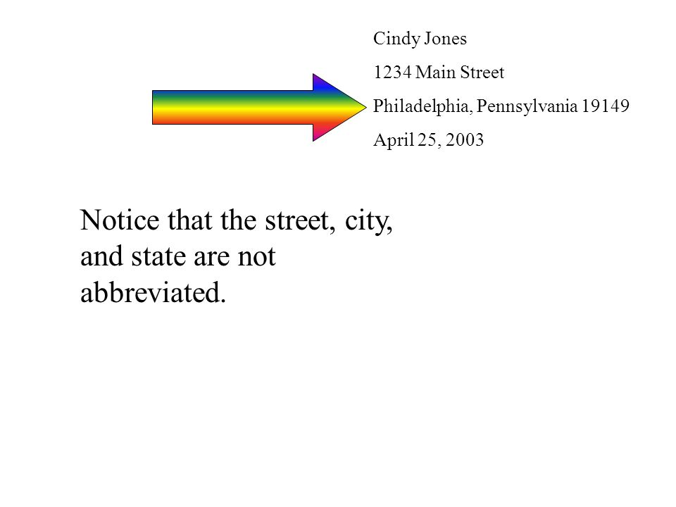 Cindy Jones 1234 Main Street Philadelphia, Pennsylvania 19149 April 25, 2003 Notice that the street, city, and state are not abbreviated.