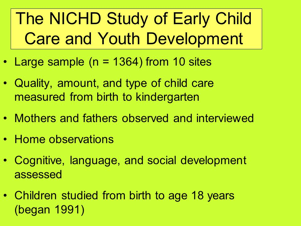 The NICHD Study of Early Child Care and Youth Development Large sample (n = 1364) from 10 sites Quality, amount, and type of child care measured from birth to kindergarten Mothers and fathers observed and interviewed Home observations Cognitive, language, and social development assessed Children studied from birth to age 18 years (began 1991)