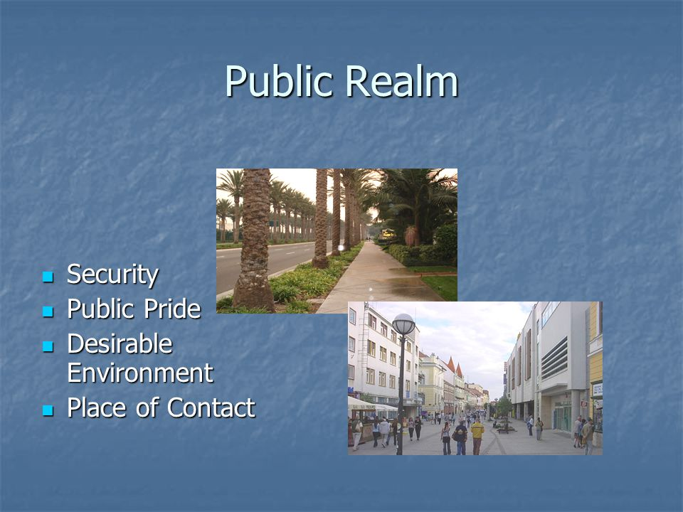 Public Realm Security Security Public Pride Public Pride Desirable Environment Desirable Environment Place of Contact Place of Contact