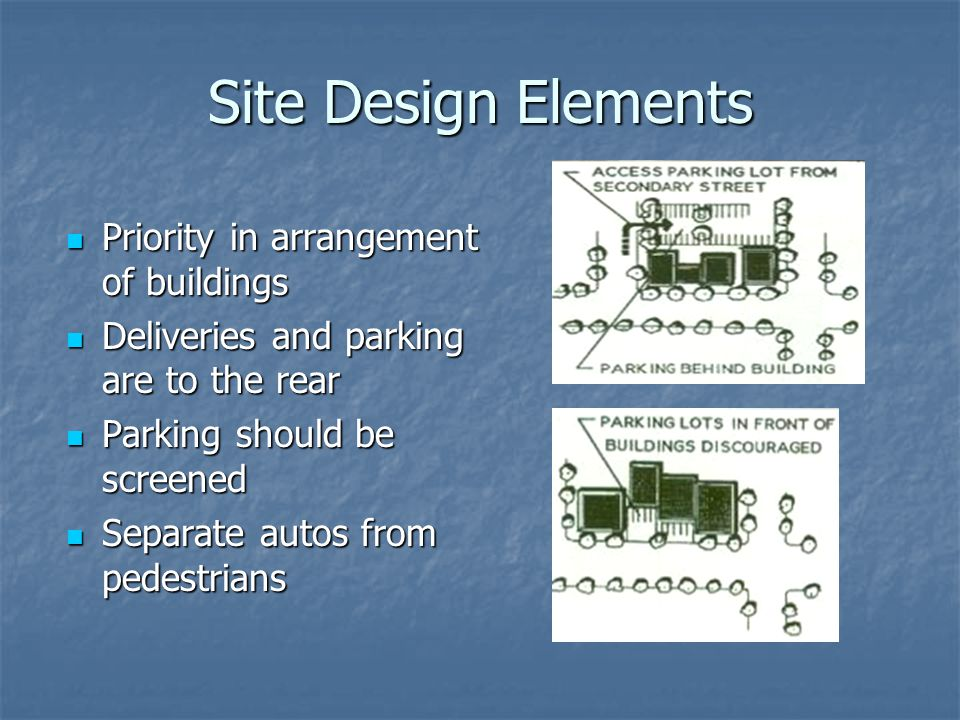Site Design Elements Priority in arrangement of buildings Priority in arrangement of buildings Deliveries and parking are to the rear Deliveries and p