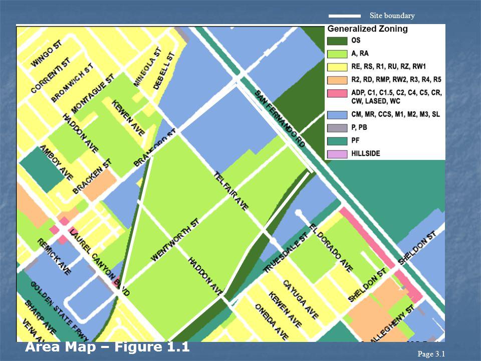 Site boundary Area Map – Figure 1.1 Page 3.1