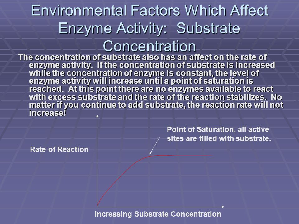 Environmental Factors Which Affect Enzyme Activity: Substrate Concentration The concentration of substrate also has an affect on the rate of enzyme activity.