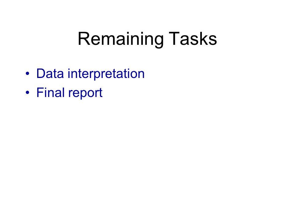 Remaining Tasks Data interpretation Final report