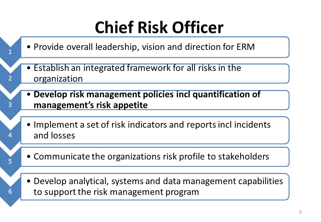 6 Chief Risk Officer 1 Provide overall leadership, vision and direction for ERM 2 Establish an integrated framework for all risks in the organization