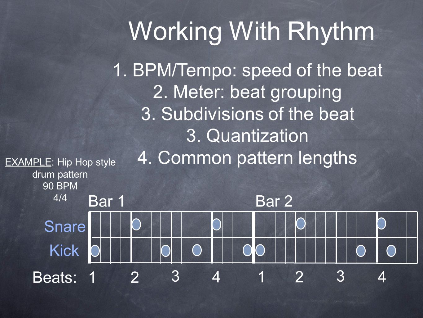 Working With Rhythm 1. BPM/Tempo: speed of the beat 2. Meter: beat grouping 3. Subdivisions of the beat 3. Quantization 4. Common pattern lengths EXAM