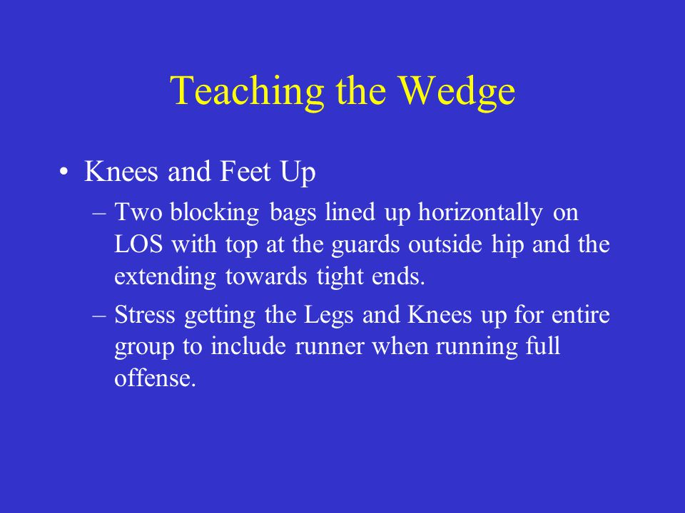Teaching the Wedge Knees and Feet Up –Two blocking bags lined up horizontally on LOS with top at the guards outside hip and the extending towards tigh