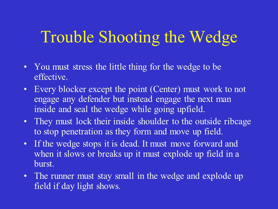 Trouble Shooting the Wedge You must stress the little thing for the wedge to be effective. Every blocker except the point (Center) must work to not en
