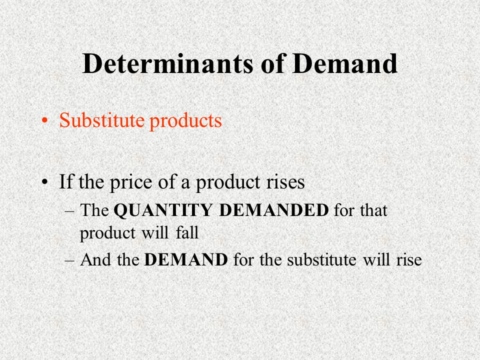 Determinants of Demand Substitute products If the price of a product rises –The QUANTITY DEMANDED for that product will fall –And the DEMAND for the substitute will rise