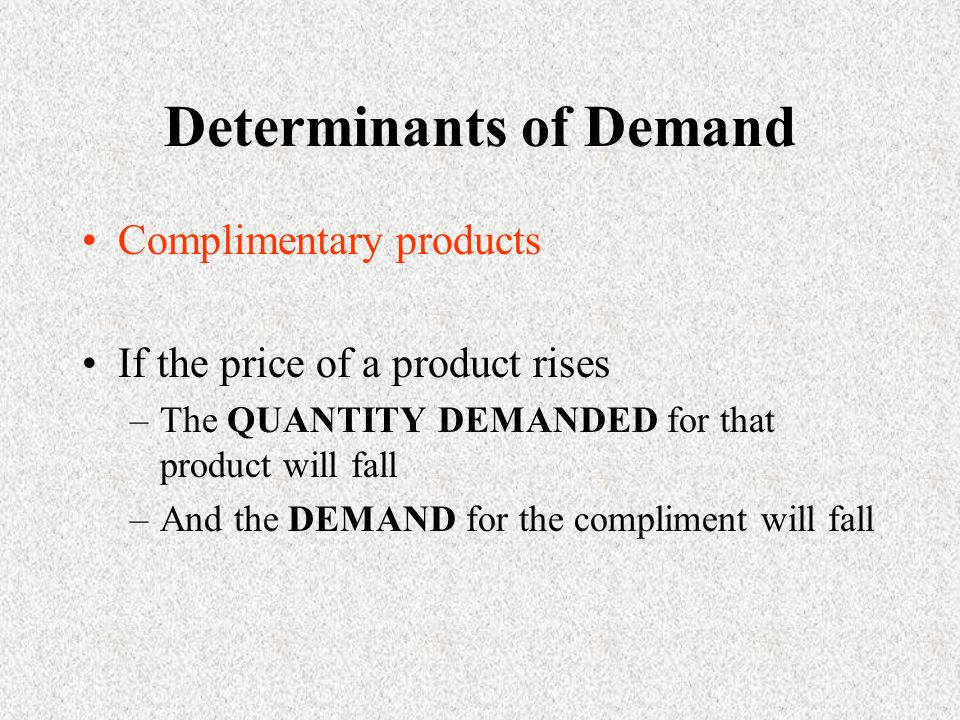 Determinants of Demand Complimentary products If the price of a product rises –The QUANTITY DEMANDED for that product will fall –And the DEMAND for the compliment will fall