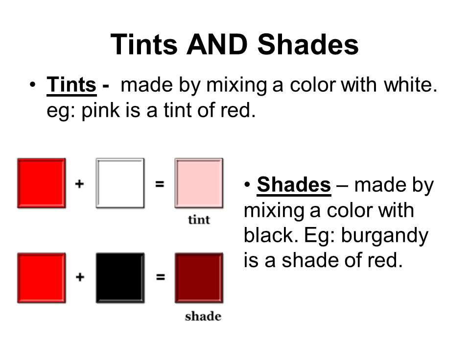 Tints AND Shades Tints - made by mixing a color with white.