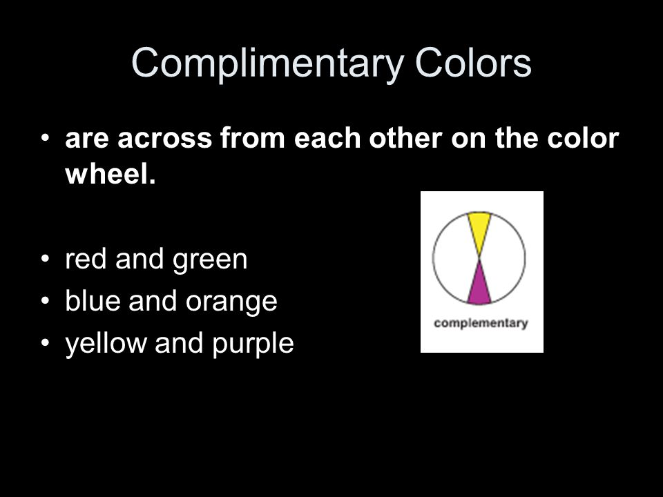 Complimentary Colors are across from each other on the color wheel.