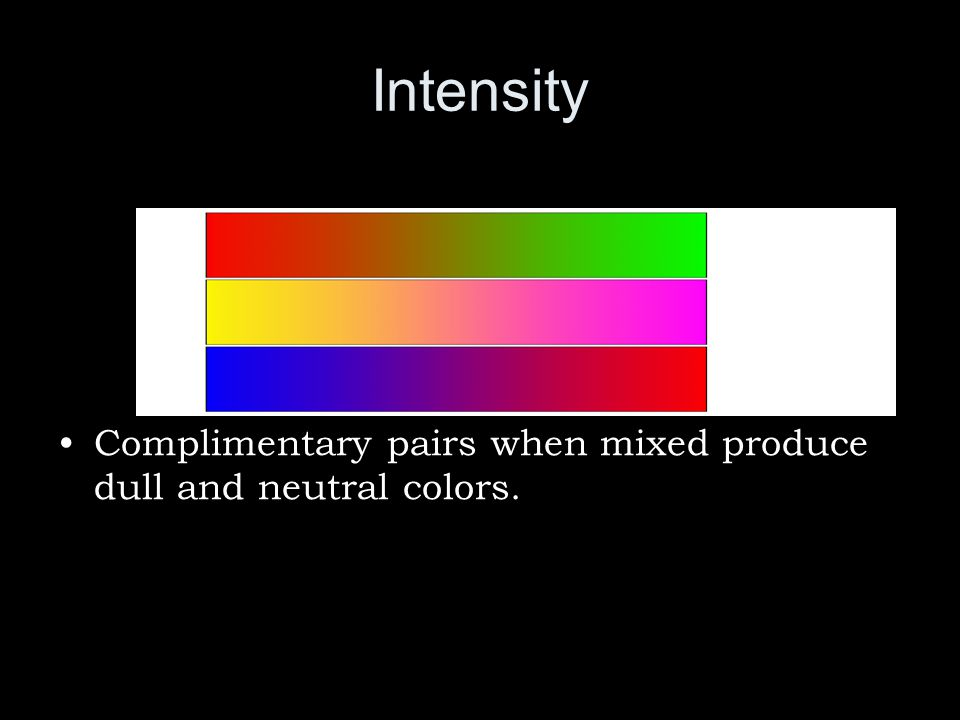 Intensity Complimentary pairs when mixed produce dull and neutral colors.