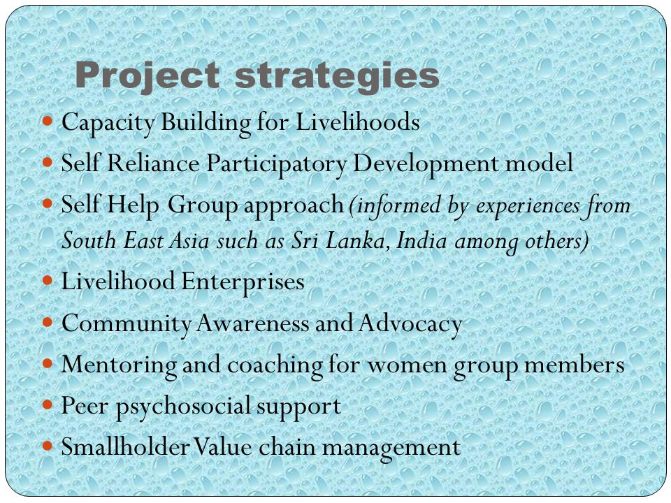 Project strategies Capacity Building for Livelihoods Self Reliance Participatory Development model Self Help Group approach (informed by experiences from South East Asia such as Sri Lanka, India among others) Livelihood Enterprises Community Awareness and Advocacy Mentoring and coaching for women group members Peer psychosocial support Smallholder Value chain management