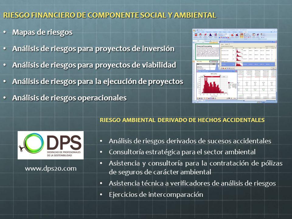 RIESGO FINANCIERO DE COMPONENTE SOCIAL Y AMBIENTAL Mapas de riesgos Mapas de riesgos Análisis de riesgos para proyectos de inversión Análisis de riesgos para proyectos de inversión Análisis de riesgos para proyectos de viabilidad Análisis de riesgos para proyectos de viabilidad Análisis de riesgos para la ejecución de proyectos Análisis de riesgos para la ejecución de proyectos Análisis de riesgos operacionales Análisis de riesgos operacionales RIESGO AMBIENTAL DERIVADO DE HECHOS ACCIDENTALES Análisis de riesgos derivados de sucesos accidentales Consultoría estratégica para el sector ambiental Asistencia y consultoría para la contratación de pólizas de seguros de carácter ambiental Asistencia técnica a verificadores de análisis de riesgos Ejercicios de intercomparación www.dps20.com