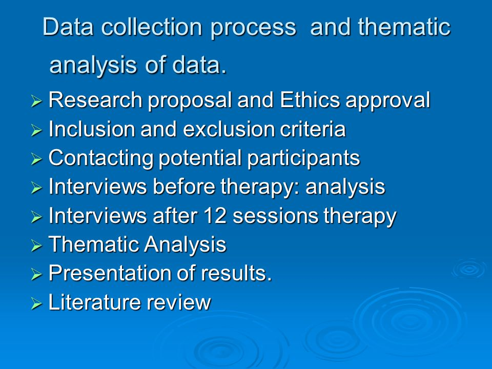 Data collection process and thematic analysis of data.