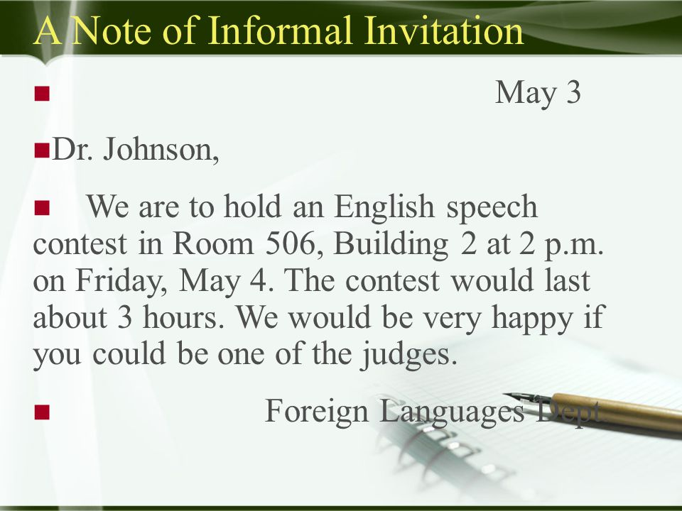 A Note of Informal Invitation May 3 Dr.