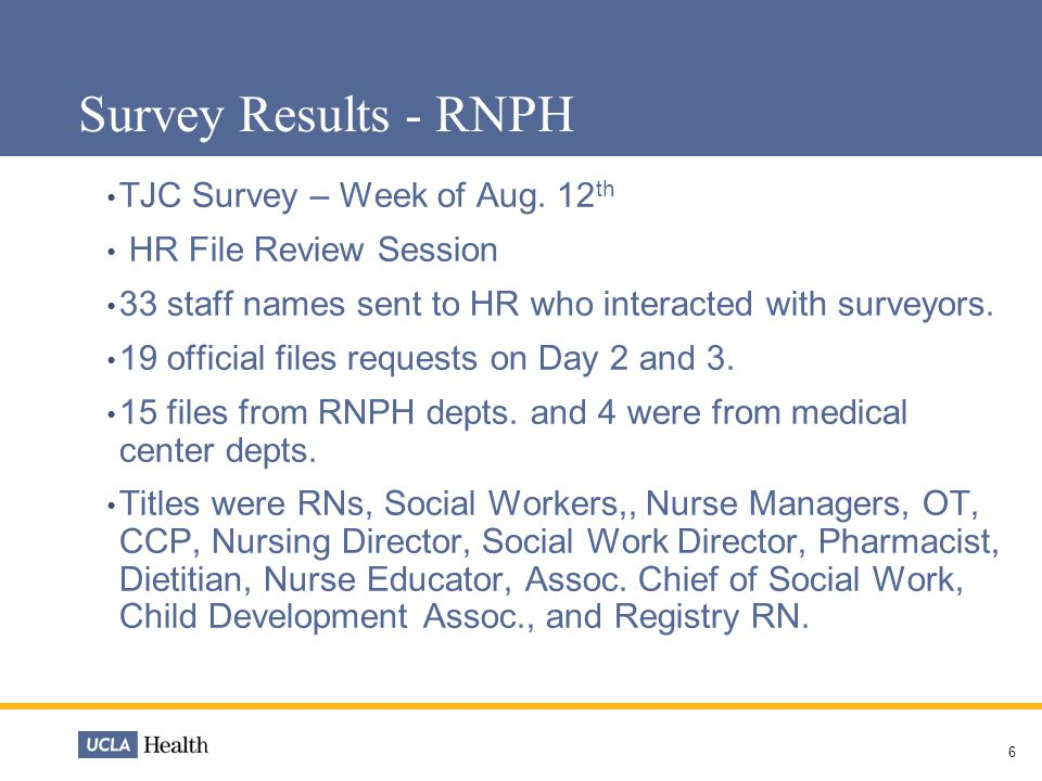 7 Survey Results - RNPH Interview questions were about orientation, education and competencies.