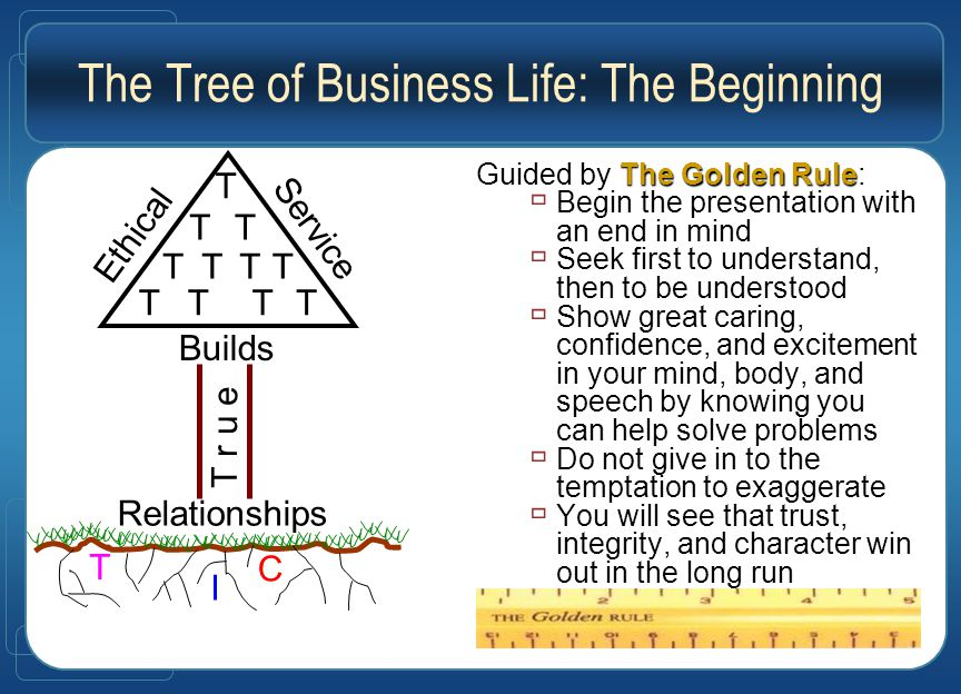 The Tree of Business Life: The Beginning The Golden Rule Guided by The Golden Rule:  Begin the presentation with an end in mind  Seek first to understand, then to be understood  Show great caring, confidence, and excitement in your mind, body, and speech by knowing you can help solve problems  Do not give in to the temptation to exaggerate  You will see that trust, integrity, and character win out in the long run I T C Ethical Service Builds T r u e Relationships T TT TTTT TTTT