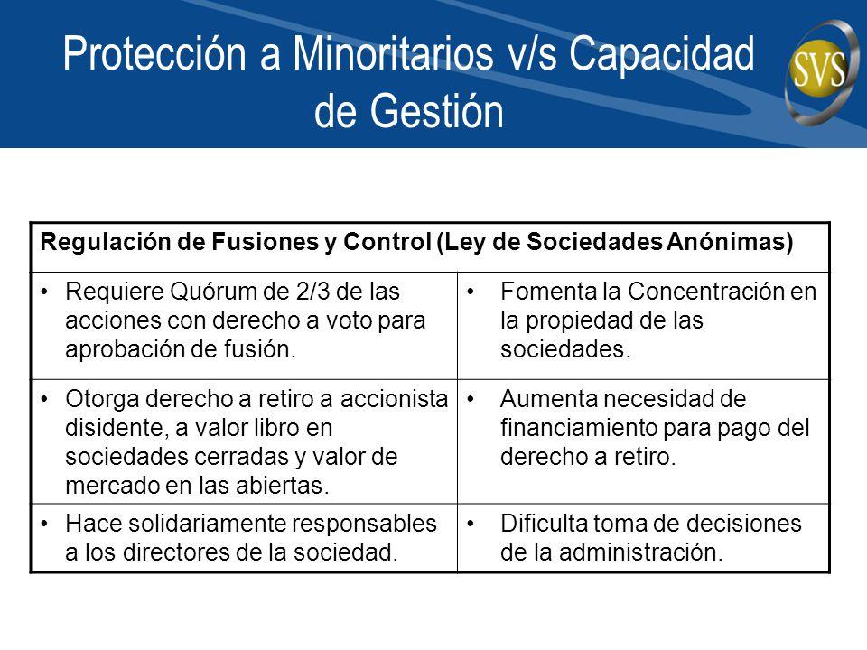 Protección a Minoritarios v/s Capacidad de Gestión Regulación de Fusiones y Control (Ley de Sociedades Anónimas) Requiere Quórum de 2/3 de las acciones con derecho a voto para aprobación de fusión.