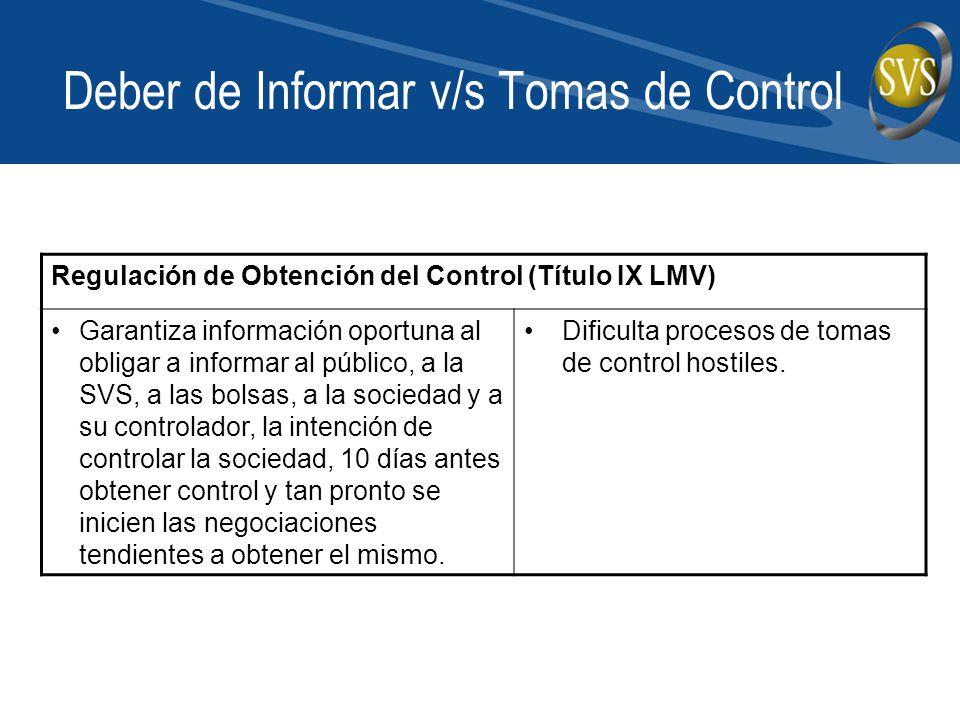 Deber de Informar v/s Tomas de Control Regulación de Obtención del Control (Título IX LMV) Garantiza información oportuna al obligar a informar al púb