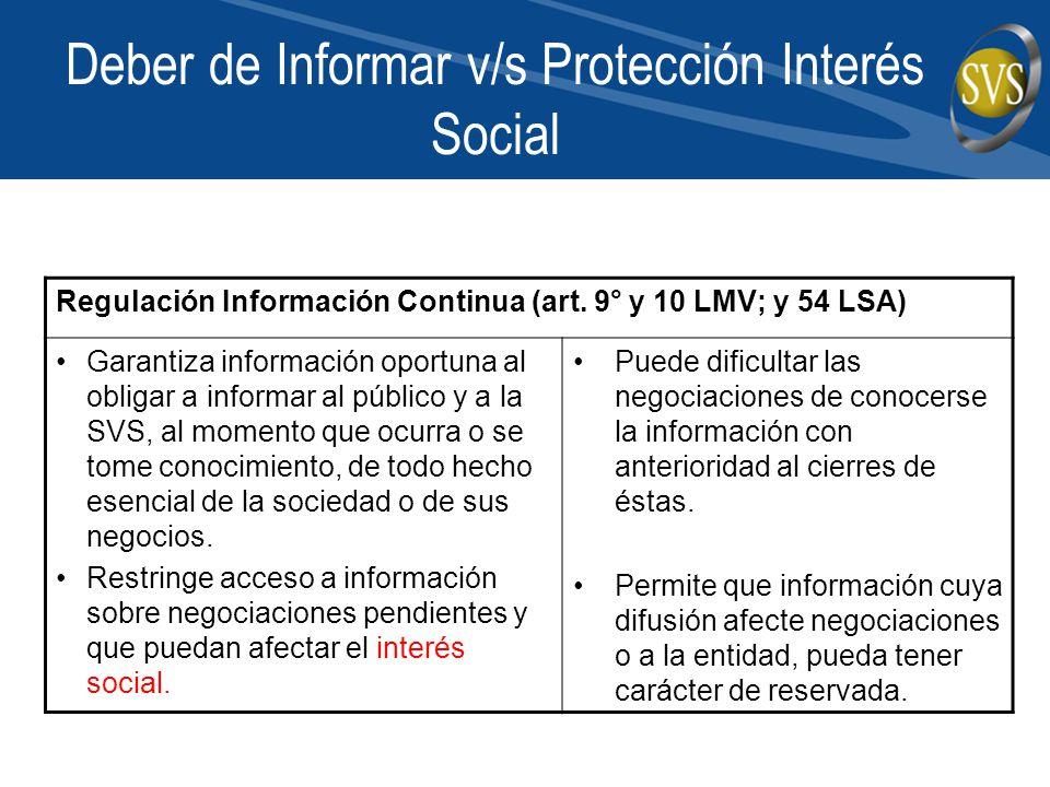 Deber de Informar v/s Protección Interés Social Regulación Información Continua (art. 9° y 10 LMV; y 54 LSA) Garantiza información oportuna al obligar