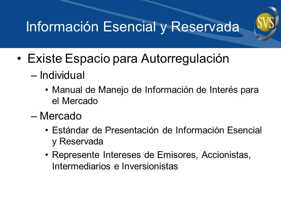 Información Esencial y Reservada Existe Espacio para Autorregulación –Individual Manual de Manejo de Información de Interés para el Mercado –Mercado E